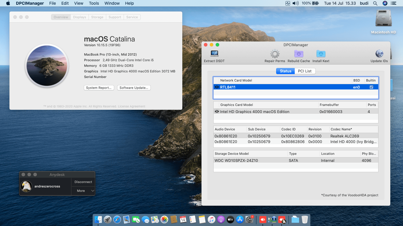 Success Hackintosh macOS Catalina 10.15.5 Build 19F96 in Acer Aspire V3-471G